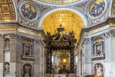 Basilica of St. Peter, church in Vatican, Rome. Basilica of St. Peter, is an Italian Renaissance church in Vatican City, the papal enclave within the city of Stock Photography