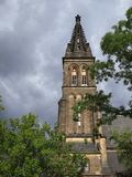 Basilica of St. Peter and St. Paul, a neo-Gothic church in the Vysehrad fortress. Stock Photography