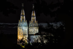 Basilica of St Peter and St Paul in Prague, Vysehrad, Czech Republic. Famous tourist destination beatifully lighted in the night stock image