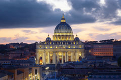 The Basilica of St. Peter at sunset, with the new led lighting. Stock Photo