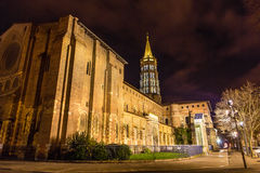 Basilica of St. Sernin by night in Toulouse Stock Photo