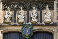 Basilica of St. Severin, Cologne, Germany. Sculpture above portal of Basilica of St. Severin, Cologne, Germany Stock Image