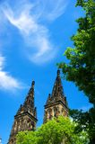 Basilica of Sts Peter and Paul at Prague Vyehrad. Summer beautiful views of the Basilica of St Peter and St Paul in Prague`s Vysehrad Royalty Free Stock Image