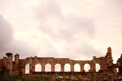 Basilica at sunset at Volubilis, N Morocco Stock Photography