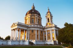 The Basilica of Superga at sunset Piedmont, Italy stock images