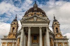 Basilica of Superga. View of the Basilica of Superga, in Turin - Italy Stock Image