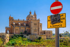 Basilica Of Ta Pinu Behind Sign Stock Photos