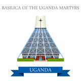 Basilica of the Uganda Martyrs. Flat cartoon style historic sight showplace attraction web site vector illustration. World countries cities vacation travel Royalty Free Stock Photos