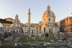 Basilica Ulpia and Trajan Column at dawn Royalty Free Stock Image
