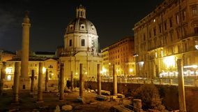 Basilica Ulpia, Trajan Forum, Night, Roma, Italy stock video footage