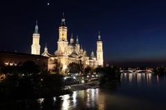 Basilica of the Virgen del Pilar and Ebro river, Zar Stock Photos