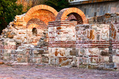 Basilica of the Virgin Eleousa. The ruins of a Byzantine basilica of the VI century. Nessebar, Bulgaria Royalty Free Stock Photos