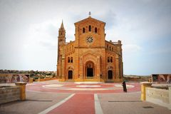 The basilica of the Virgin Of Ta Pinu near the village of Gharb in Gozo.  Royalty Free Stock Images