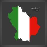 Basilicata map with Italian national flag illustration Stock Image