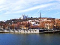 Basilicathe und Fluss Saone, Lyon, Frankreich Notre Dame de Fourviere lizenzfreies stockfoto
