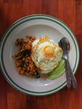 Basilico del pollo fritto di scalpore con riso e Fried Egg Immagini Stock Libere da Diritti
