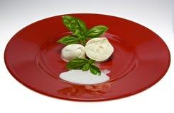 Basilico della mozzarella e di Piatto Immagine Stock