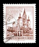Basiliek van Mariazell (Stiermarken), Gebouwen serie, circa 1959 Stock Afbeelding