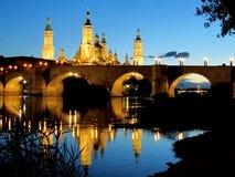 Basiliek van Onze Dame van de Pijler in Zaragoza Stock Foto