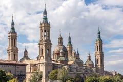 Basiliek van onze Dame van Pilar in Zaragoza, Spanje Stock Foto