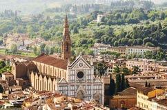 Basiliek van Santa Croce van hierboven, Florence Italy royalty-vrije stock foto's