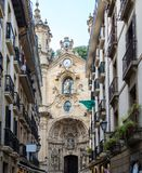 Basiliek van Santa Maria del Coro in San Sebastian - Donostia, Spanje stock foto's