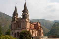 Basilika av Covadonga i Asturias Arkivbilder