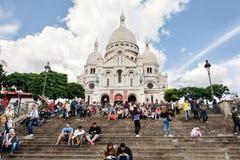 Basilika av den sakrala hjärtan av den Paris sikten Fotografering för Bildbyråer