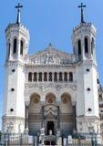 Basilika av Notre-Dame de Fourvière Lyon Frankrike Arkivfoton