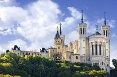 Basilika av Notre Dame de Fourviere, Lyon, Frankrike Royaltyfria Bilder