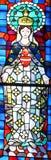 Basilika av Notre-Dame-du-lock målat glassfönster Arkivbild