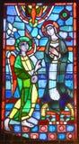 Basilika av Notre-Dame-du-lock målat glassfönster Royaltyfri Fotografi