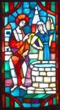 Basilika av Notre-Dame-du-lock målat glassfönster Arkivfoton