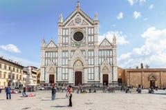 Basilika av Santa Croce Holy Cross i Florence, Italien Arkivfoton