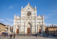 Basilika av Santa Croce Holy Cross i Florence, Italien Arkivbilder