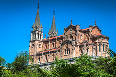 Basilika av Santa Maria, Covadonga, Asturias, Spanien Arkivbilder
