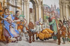 Basilika av Santa Maria Novella i Florence, frescoes vid Filipp Royaltyfria Foton