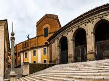 Basilika av St Mary av altaret av himmel i Rome Arkivbilder