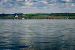 Basilika Birnau πέρα από τη λίμνη στοκ εικόνες