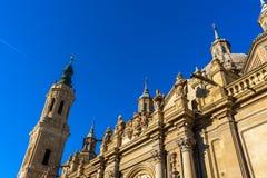 Basilika de Nuestra Señora del Pilar Cathedral i Zaragoza, Spanien arkivbilder