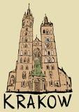 Basilika der Heiliger Maria in Krakau lizenzfreie abbildung