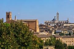 Basilika di San Domenico och duomoen - Siena royaltyfri fotografi