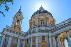 Basilika di Superga, en barock kyrka på Turin Torino kullar, Italien, Europa fotografering för bildbyråer