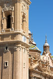 Basilika-domkyrka av vår dam av pelaren i Zaragoza Arkivfoton