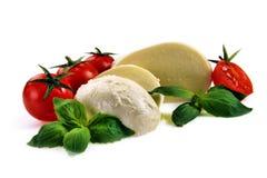 Basilika för körsbärsröda tomater för Mozzarella Royaltyfria Bilder