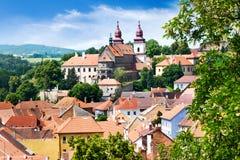 Basilika för St. Procopius och judisk stad (UNESCO), Trebic, Vysocina, Tjeckien, Europa Arkivfoton