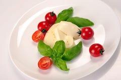Basilika för körsbärsröda tomater för Mozzarella Royaltyfri Fotografi
