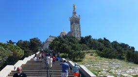 Basilika I Notr-ska ge де ля Gard. Marseilles. Arkivbild