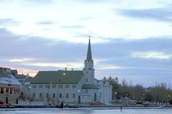 Basilika Krists konungs Landakotskirkja in Reykjavik. stock photos