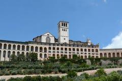 Basilika San Francesco, Assisi, Umbria/Italien Fotografering för Bildbyråer
